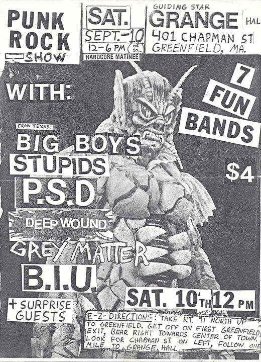 Big Boys-The Stupids-PSD-Deep Wound-Grey Matter-Brain Injured Unit @ Greenfield MA