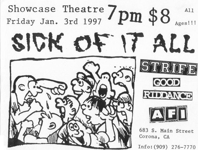 Sick Of It All-Strife-Good Riddance-AFI @ Corona CA 1-3-97