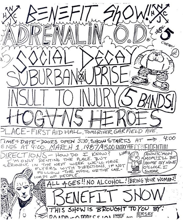 Adrenalin OD-Social Decay-Suburban Uprise-Insult To Injury-Hogan's Heroes @ Toms River NJ 3-1-87