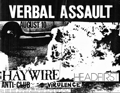 Verbal Assault-Haywire-Headfirst-Virulence @ Hollywood CA 8-10-90