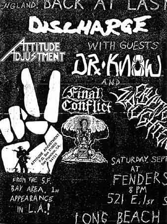 Discharge-Attitude Adjustment-Dr. Know-Final Conflict-Cryptic Slaughter @ Long Beach CA September 1986
