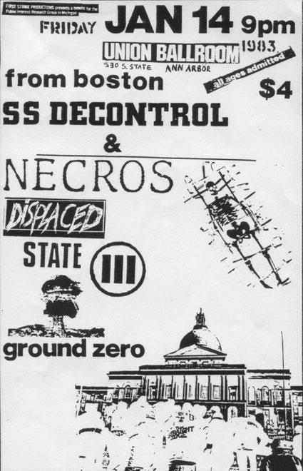 Society System DeControl-Necros-Displaced-State-Ground Zero @ Ann Arbor MI 1-14-83