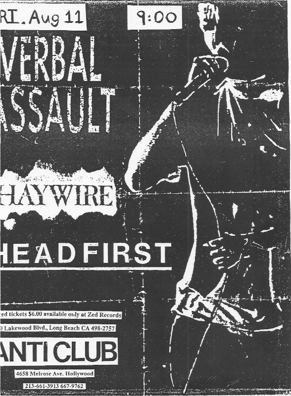 Verbal Assault-Haywire-Headfirst @ Hollywood CA 8-11-89