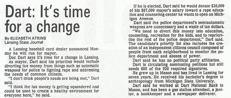 Doc Dart Runs For Mayor 1989