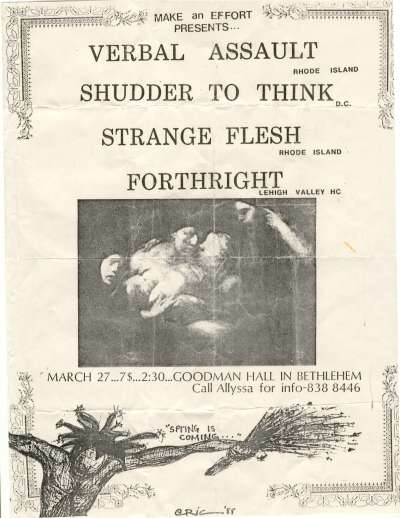 Verbal Assault-Shudder To Think-Strange Flesh-Forthright @ Bethlehem PA 3-27-??