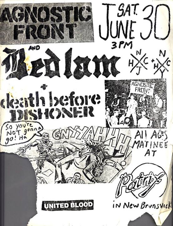 Agnostic Front-Bedlam-Death Before Dishonor @ New Brunswick NJ 6-30-84