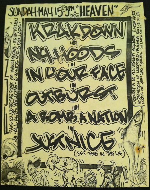 Krakdown-NY Hoods-In Your Face-Outburst-Abombanation-Just Nice @ New York City NY 5-15-89