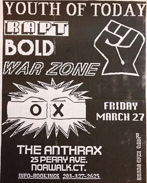 Youth Of Today-Rapt-Bold-War Zone @ Norwalk CT 3-27-87