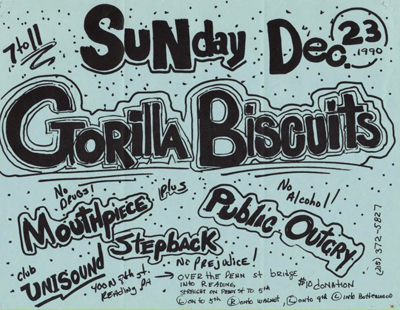 Gorilla Biscuits-Mouthpiece-Public Outcry-Step Back @ Reading PA 12-23-90