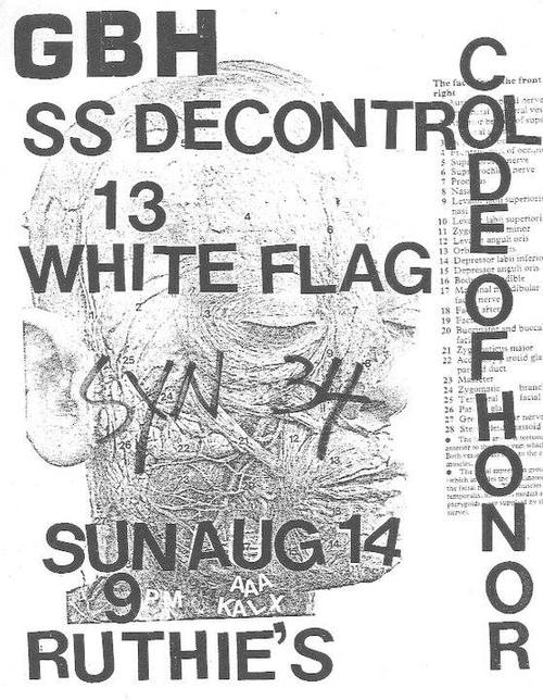 GBH-Society System DeControl-13-White Flag-Sin 34-Code Of Honor @ San Francisco CA 8-14-82