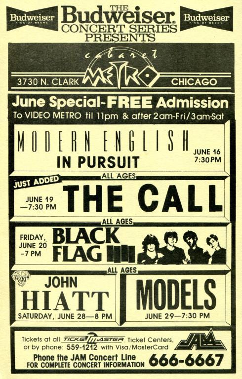 The Budweiser Concert Series Presents…Black Flag (6-20-86)
