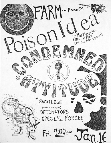 Poison Idea-Condemned Attitude-Sacrilege-Detonators-Special Forces @ San Francisco CA 1-16-87
