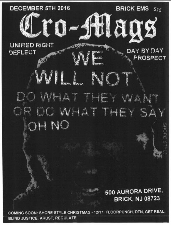 Cro Mags-Unified Right-Deflect-Day By Day-Prospect @ Brick NJ 12-5-16