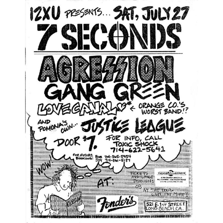 7 Seconds-Aggression-Gang Green-Love Canal-Justice League @ Long Beach CA 7-27-85