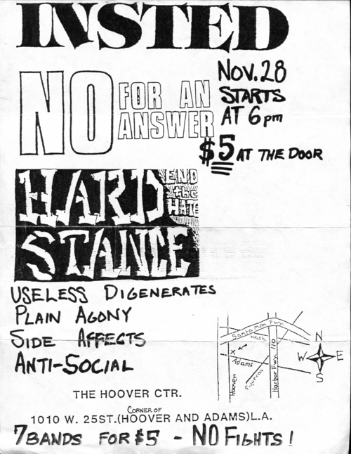 Insted-No For An Answer-Hard Stance-Useless Digenerates-Plain Agony-Side Affects-Anti Social @ Los Angeles CA 11-28-88