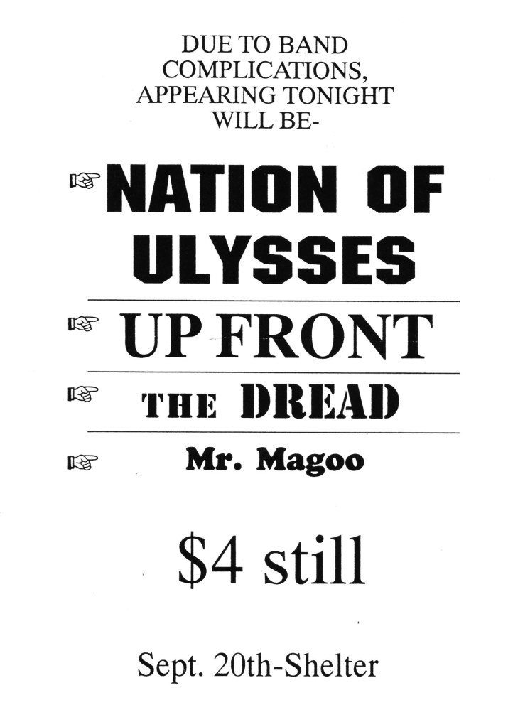 Shelter-Nation Of Ulysses-Up Front-The Dread-Mr. Magoo @ 9-20-UNKNOWN YEAR