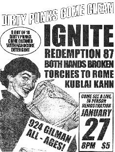 Ignite-Redemption 87-Both Hands Broken-Torches To Rome-Kublai Kahn @ Berkeley CA 1-27-UNKNOWN YEAR
