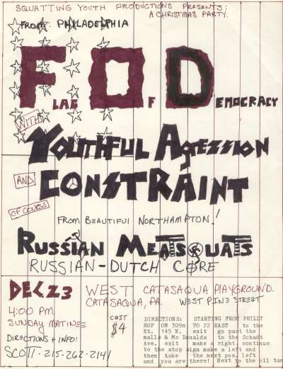 Flag Of Democracy-Youthful Aggression-Constraint-Russian Meat Squats @ Catasqua PA 12-23-UNKNOWN YEAR