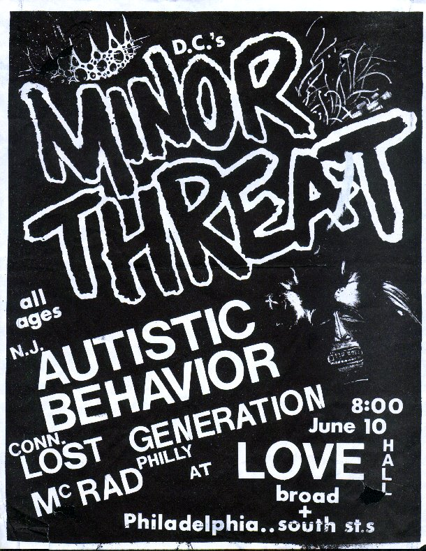 Minor Threat-Autistic Behavior-Lost Genration-McRad @ Philadelphia PA 6-10-UNKNOWN YEAR