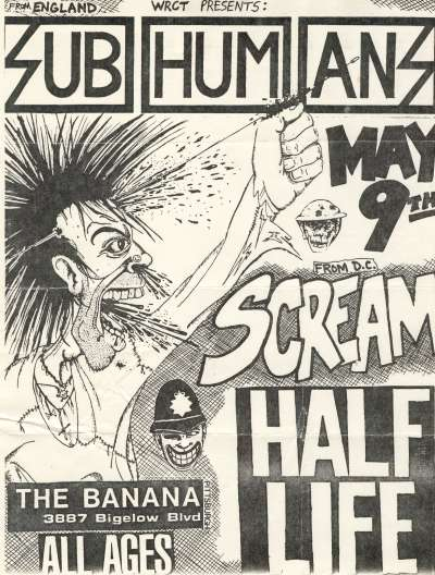 Subhumans-Scream-Half Life @ Pittsburgh PA 5-9-UNKNOWN YEAR