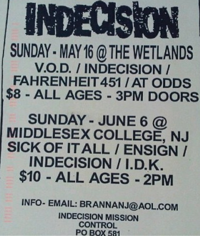 Sick Of It All-Ensign-Indecision-IDK @ Edison NJ 6-6-99