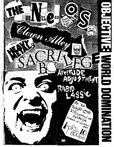 Neos-Clown Alley-Sacrilege-Attitude Adjustment-Rabid Lassie @ Alameda CA 4-10-UNKNOWN YEAR