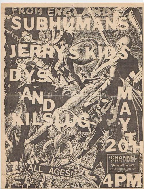 Subhumans-Jerry's Kids-DYS-Killslug @ Boston MA 5-20-UNKNOWN YEAR