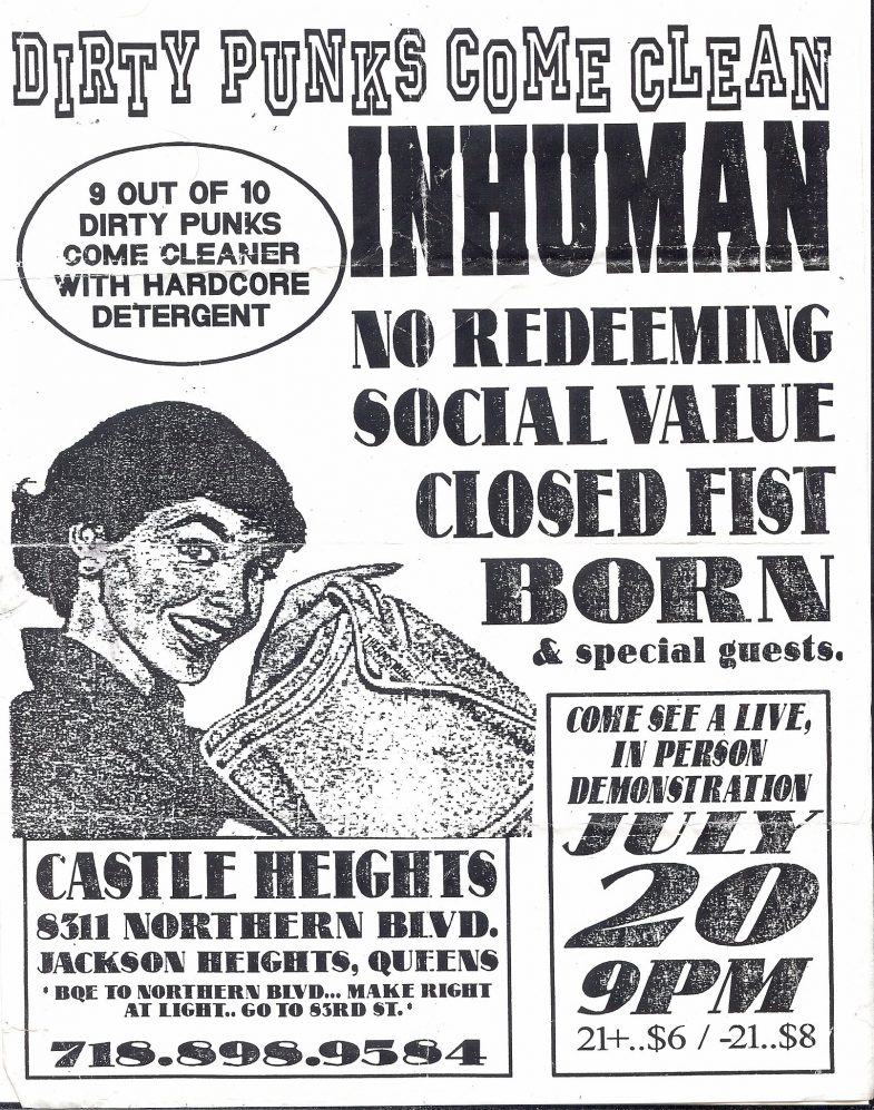 Inhuman-No Redeeming Social Value-Closed Fist-Born @ Brooklyn NY 7-20-UNKNOWN YEAR