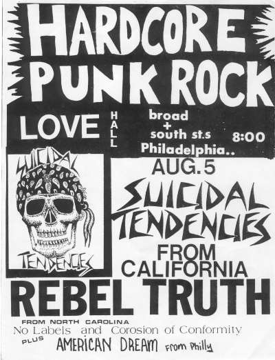 Suicidal Tendencies-Rebel Truth-No Labels-Corrosion Of Conformity-American Dream @ Philadelphia PA 8-5-UNKNOWN YEAR