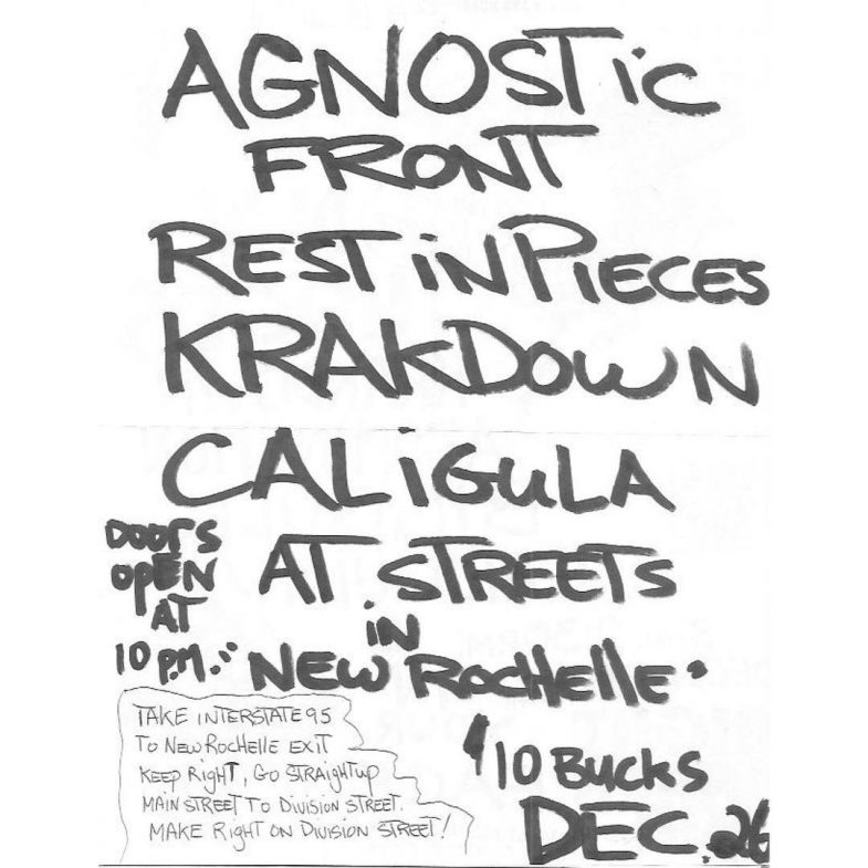 Agnostic Front-Rest In Pieces-Krakdown-Caligula @ New Rochelle NY 12-26-UNKNOWN YEAR