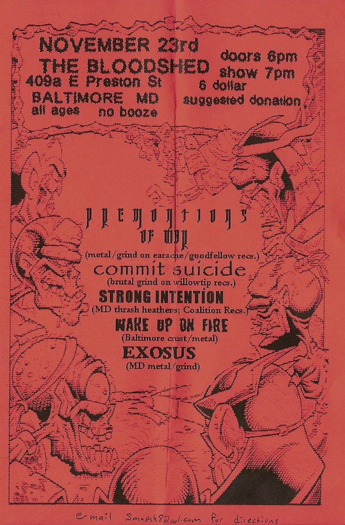 Premonitions Of War-Commit Suicide-Strong Intention-Wake Up On Fire-Exosus @ Baltimore MD 11-23-UNKNOWN YEAR