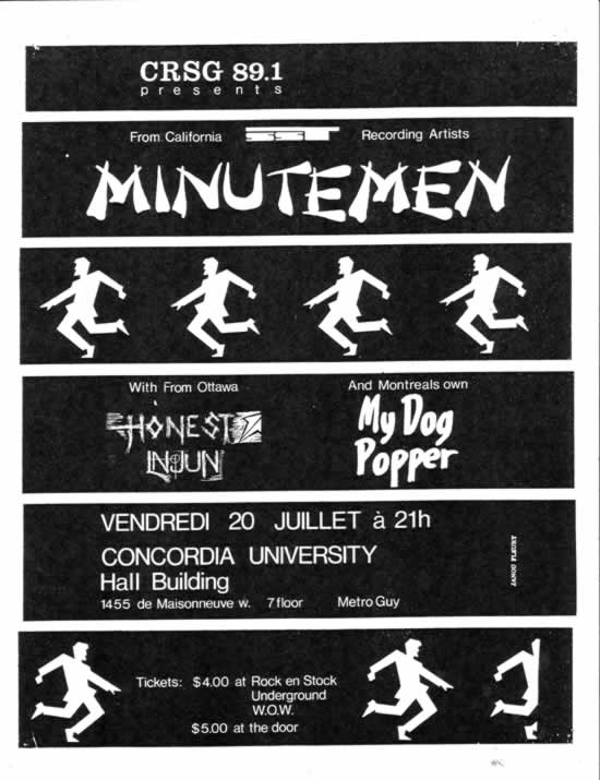 Minutemen-Honest Injun-My Dog Popper @ Montreal Canada 7-21-84
