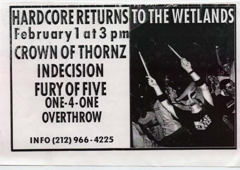 Crown Of Thornz-Indecision-Fury Of V-One 4 One-Overthrow @ New York City NY 2-1-UNKNOWN YEAR