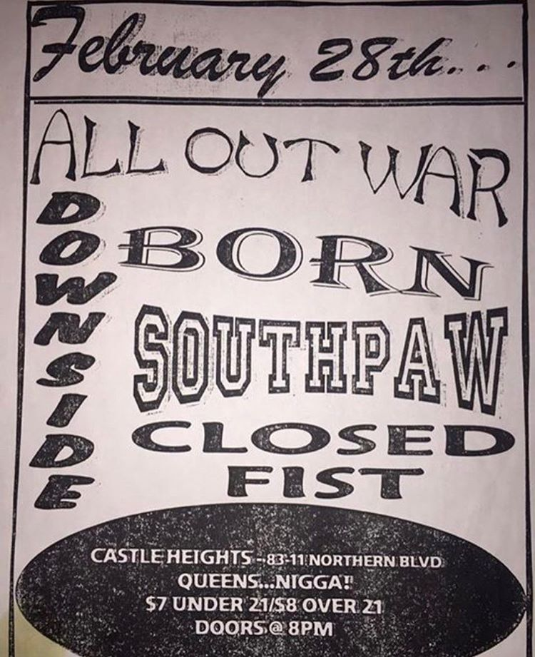 All Out War-Born-South Paw-Closed Fist @ Queens NY 2-28-UNKNOWN YEAR