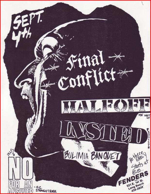 Final Conflict-Half Off-Insted-Bulimia Banquet-No For An Answer @ Long Beach CA 9-4-UKNOWN YEAR