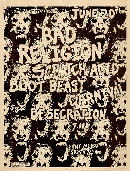 Bad Religion-Scratch Acid-Boot Beast-Carnival-Desecration @ Washington DC 6-20-UNKNOWN YEAR