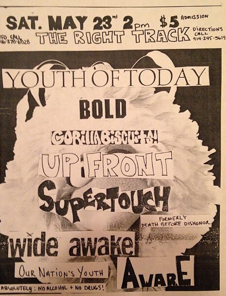 Youth Of Today-Bold-Gorilla Biscuits-Up Front-Supertouch-Wide Awake-Aware @ Newport NY 5-23-87