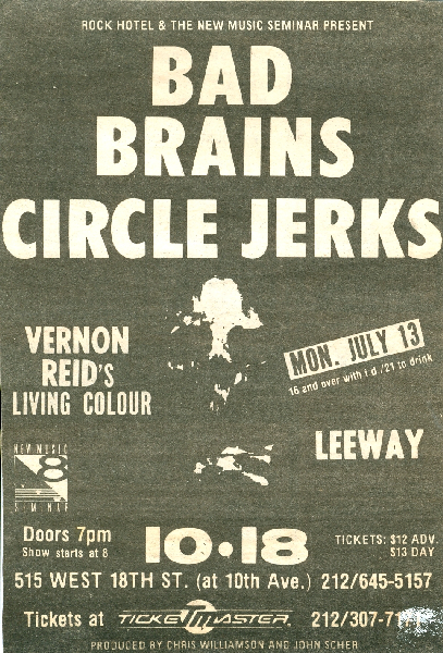 Bad Brains-Circle Jerks-Living Colour-Leeway @ New York City NY 10-18-87