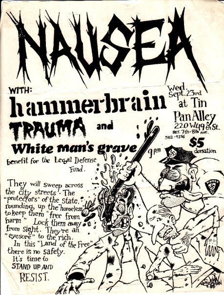 Nausea-Hammerbrain-Trauma-White Man's Grave @ New York City NY 9-23-87