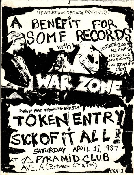 War Zone-Token Entry-Sick Of It All @ New York City NY 4-11-87