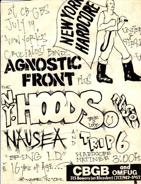 Agnostic Front-NY Hoods-Nausea-Trip 6 @ New York City NY 7-19-87