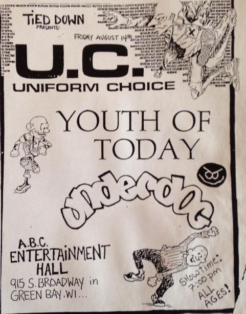 Uniform Choice-Youth Of Today-Underdog @ Green Bay WI 8-14-87