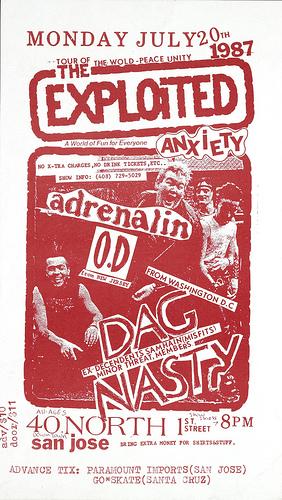 Exploited-Adrenalin OD-Dag Nasty @ San Jose CA 7-20-87