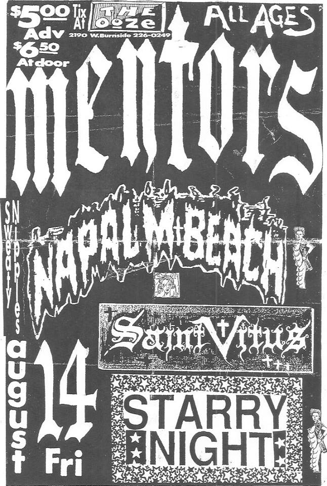 Mentors-Napalm Beach-Saint Vitus @ Portland OR 8-14-87