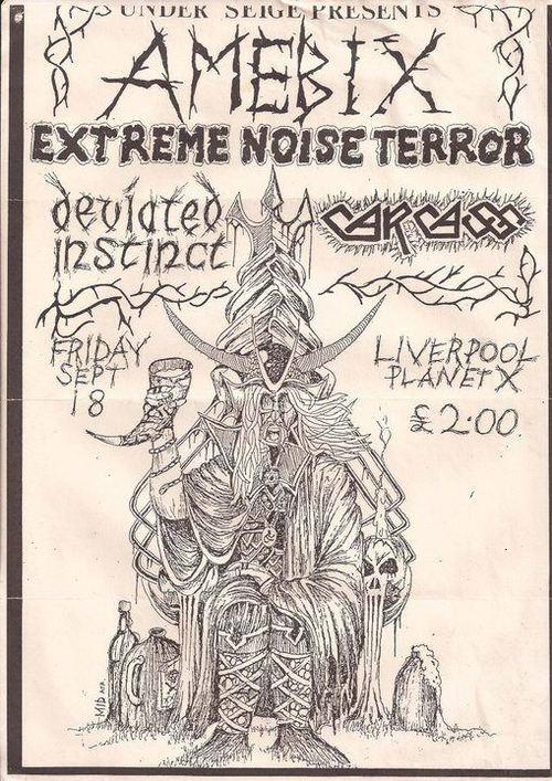 Amebix-Extreme Noise Terror-Deviated Instinct-Carcass @ Liverpool England 9-18-87