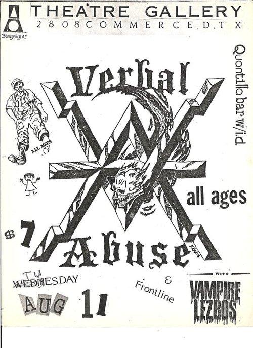 Verbal Abuse-Frontline-Vampire Lezbos @ Dallas TX 8-11-87