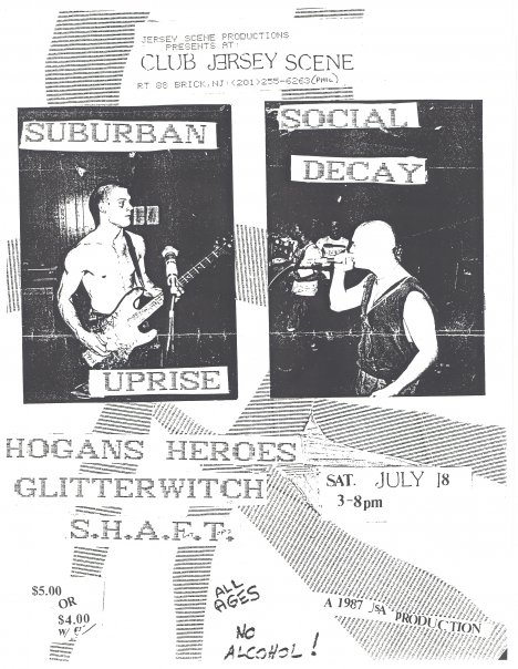Suburban Uprise-Social Decay-Hogans Heroes-Glitterwitch-Shaft @ Brick NJ 7-18-87