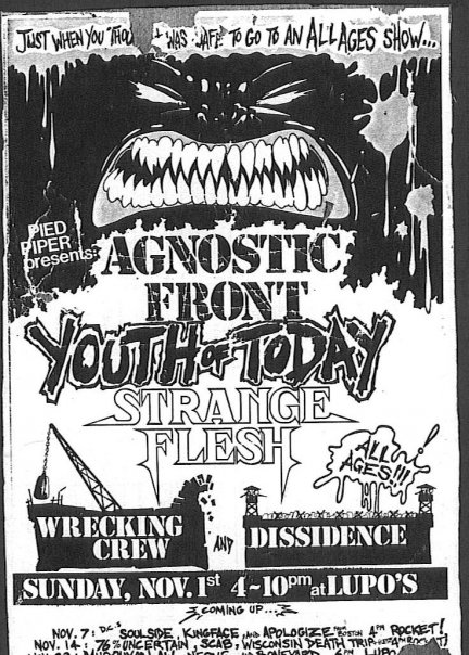 Agnostic Front-Youth Of Today-Strange Flesh-Wrecking Crew-Dissidence @ Providence RI 11-1-87