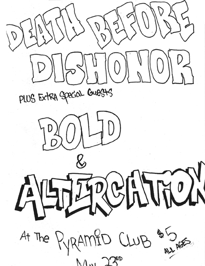 Death Before Dishonor-Bold-Altercation @ New York City NY 5-23-87