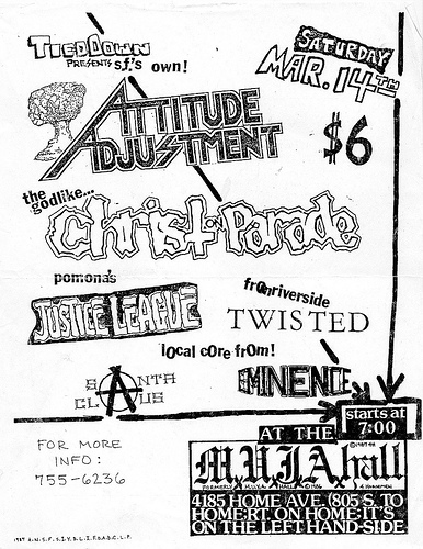 Attitude Adjustment-Christ On Parade-Justice League-Twisted-Eminence @ Oakland CA 3-14-87